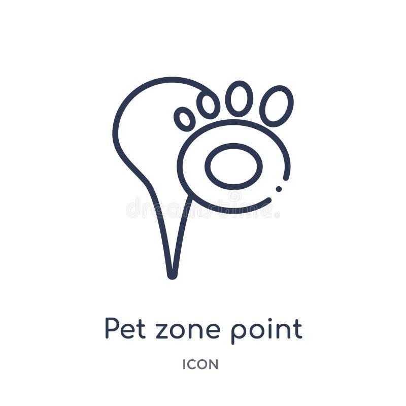 Ícone linear do ponto da zona do animal de estimação da coleção do esboço dos mapas e dos lugar Linha fina ícone do ponto da zona ilustração royalty free