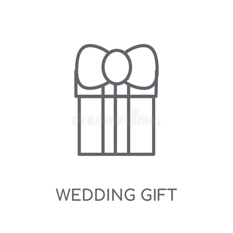 ícone linear do presente de casamento Conce moderno do logotipo do presente de casamento do esboço ilustração do vetor