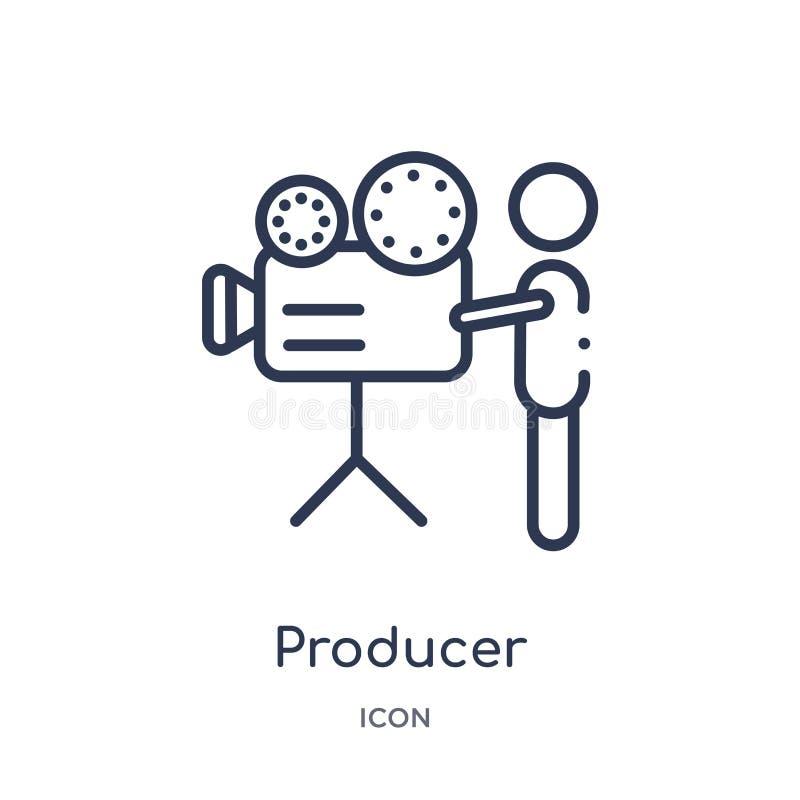 Ícone linear do produtor da coleção do esboço do cinema Linha fina vetor do produtor isolado no fundo branco produtor na moda ilustração royalty free