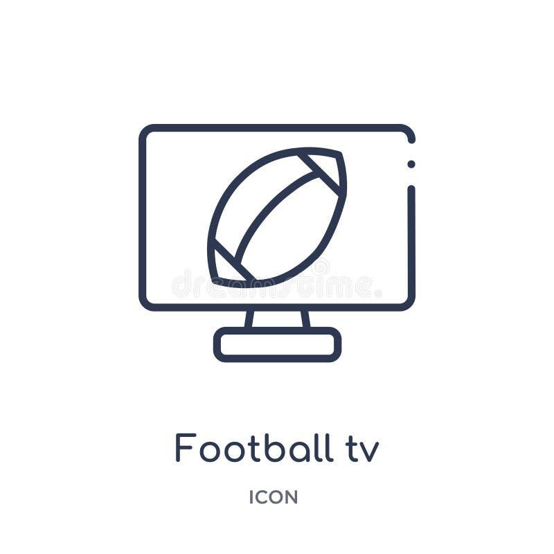 Ícone linear do programa da tevê do futebol da coleção do esboço do futebol americano Linha fina vetor do programa da tevê do fut ilustração stock