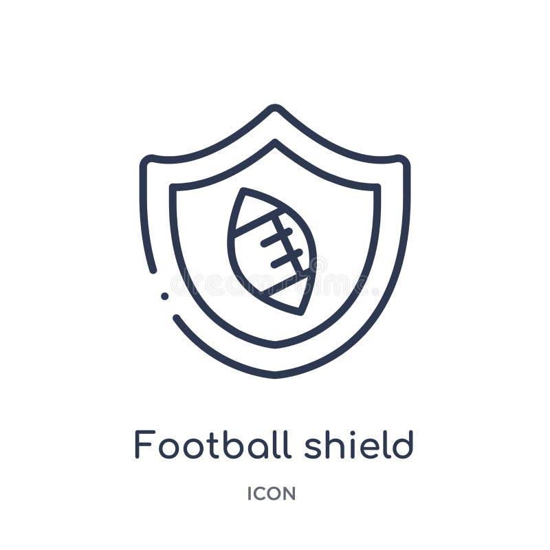 Ícone linear do protetor do futebol da coleção do esboço do futebol americano Linha fina vetor do protetor do futebol isolado no  ilustração do vetor