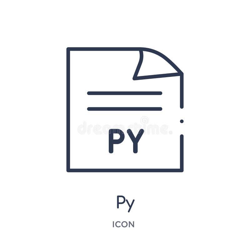 Ícone linear do PY do tipo de arquivo coleção do esboço Linha fina vetor do PY isolado no fundo branco ilustração na moda do PY ilustração do vetor