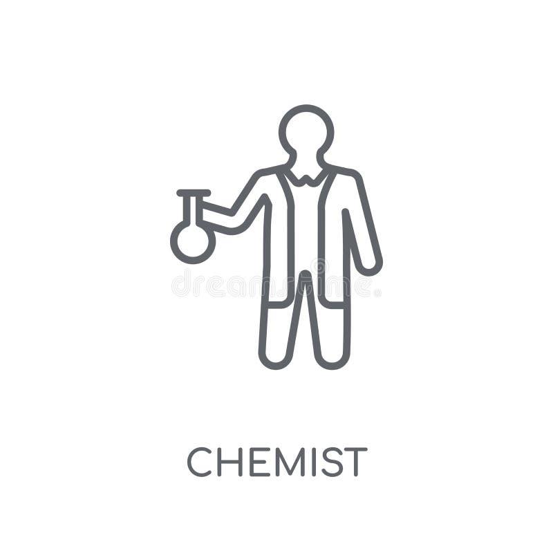Ícone linear do químico Conceito moderno do logotipo do químico do esboço no whit ilustração stock