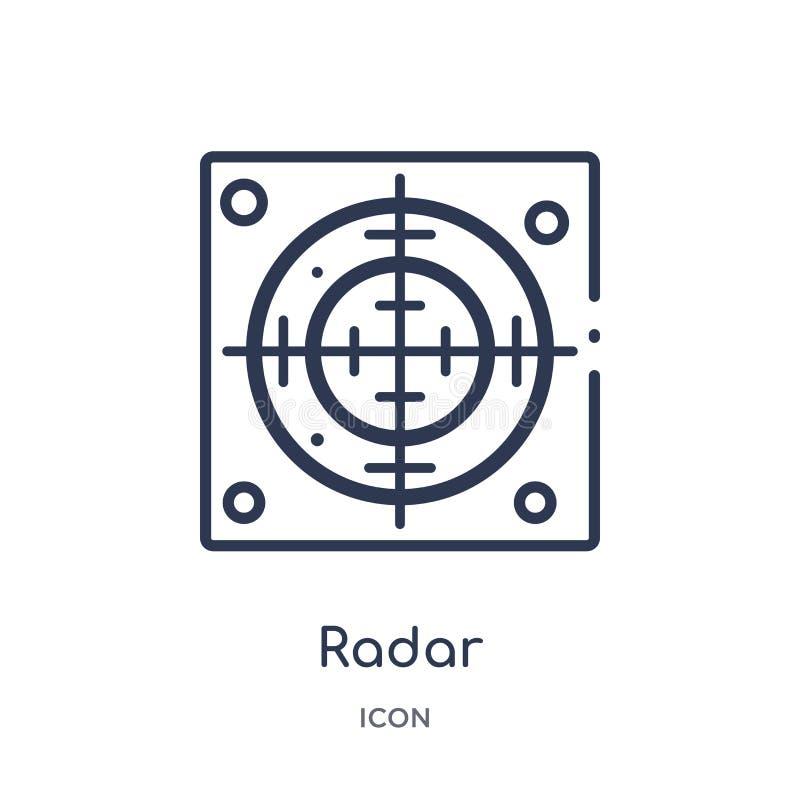 Ícone linear do radar da coleção do esboço do exército Linha fina vetor do radar isolado no fundo branco ilustração na moda do ra ilustração do vetor