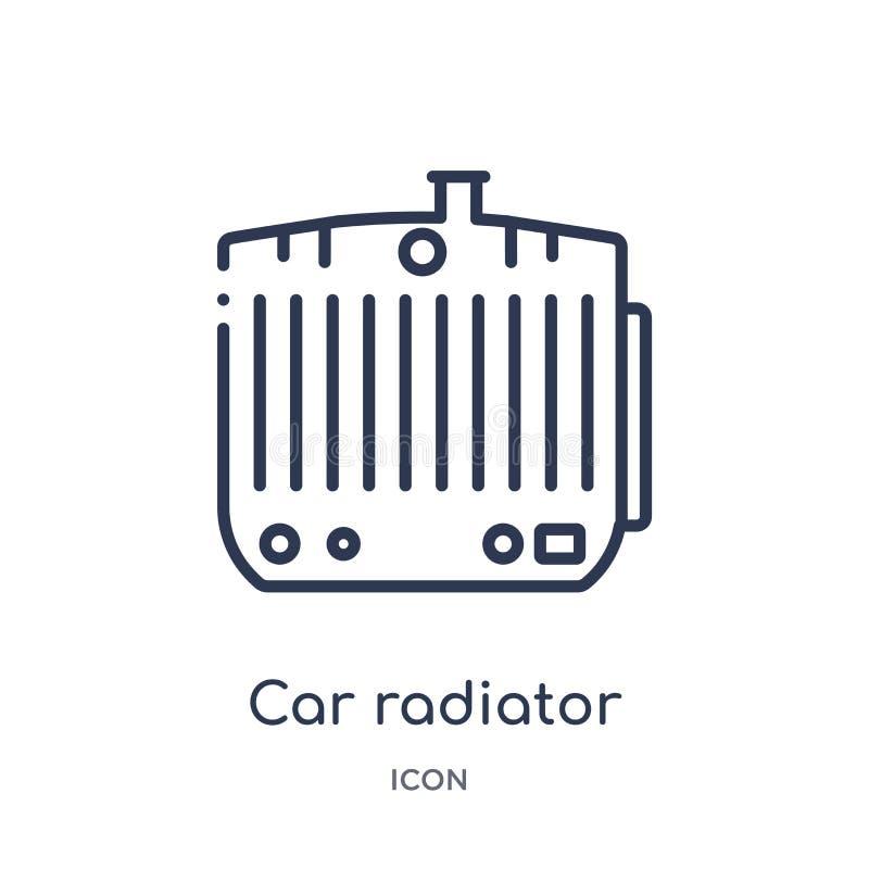 Ícone linear do radiador do carro da coleção do esboço das peças do carro Linha fina vetor do radiador do carro isolado no fundo  ilustração royalty free