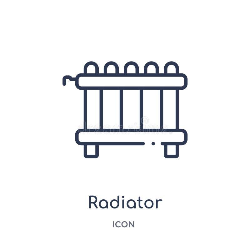 Ícone linear do radiador da coleção do esboço da mobília e do agregado familiar Linha fina ícone do radiador isolado no fundo bra ilustração do vetor