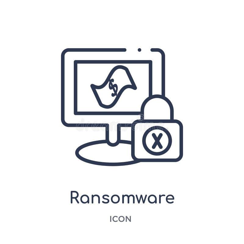 Ícone linear do ransomware da coleção do esboço do Cyber Linha fina vetor do ransomware isolado no fundo branco ransomware na mod ilustração royalty free