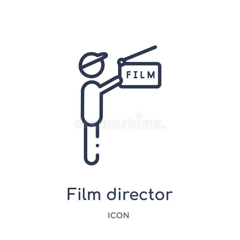 Ícone linear do realizador de cinema da coleção do esboço do cinema Linha fina vetor do realizador de cinema isolado no fundo bra ilustração royalty free