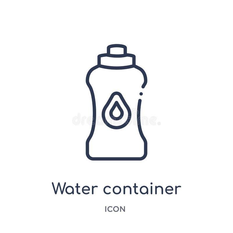 Ícone linear do recipiente da água da coleção do esboço do alimento Linha fina ícone do recipiente da água isolado no fundo branc ilustração do vetor