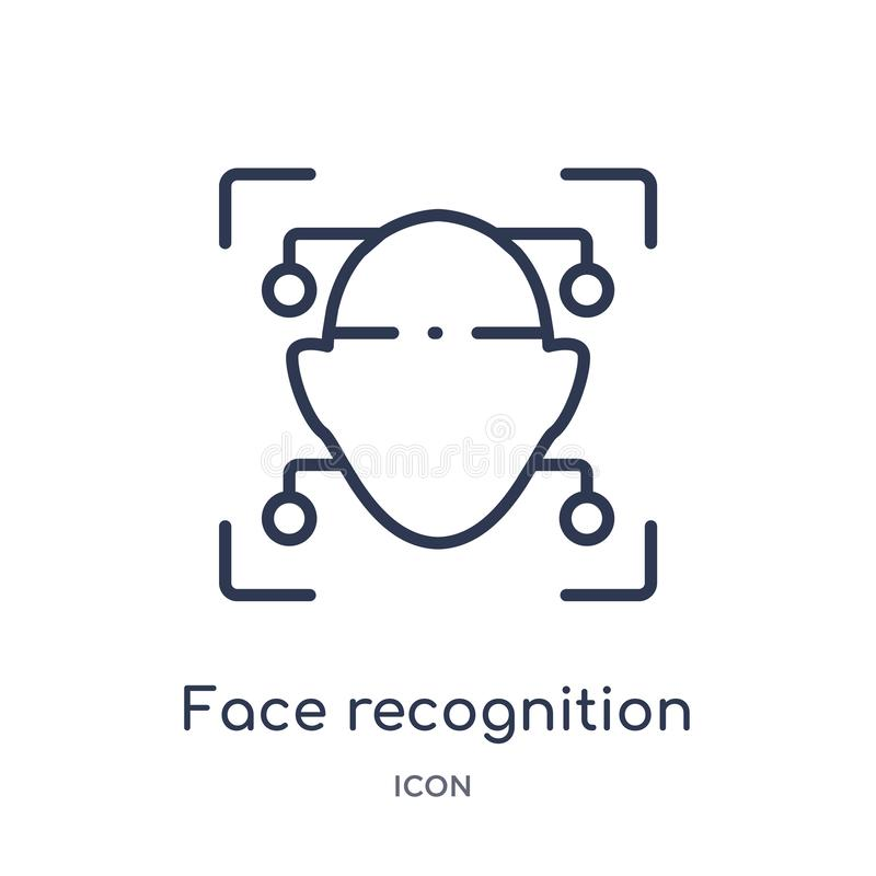 Ícone linear do reconhecimento de cara do intellegence artificial e da coleção futura do esboço da tecnologia Linha fina reconhec ilustração stock