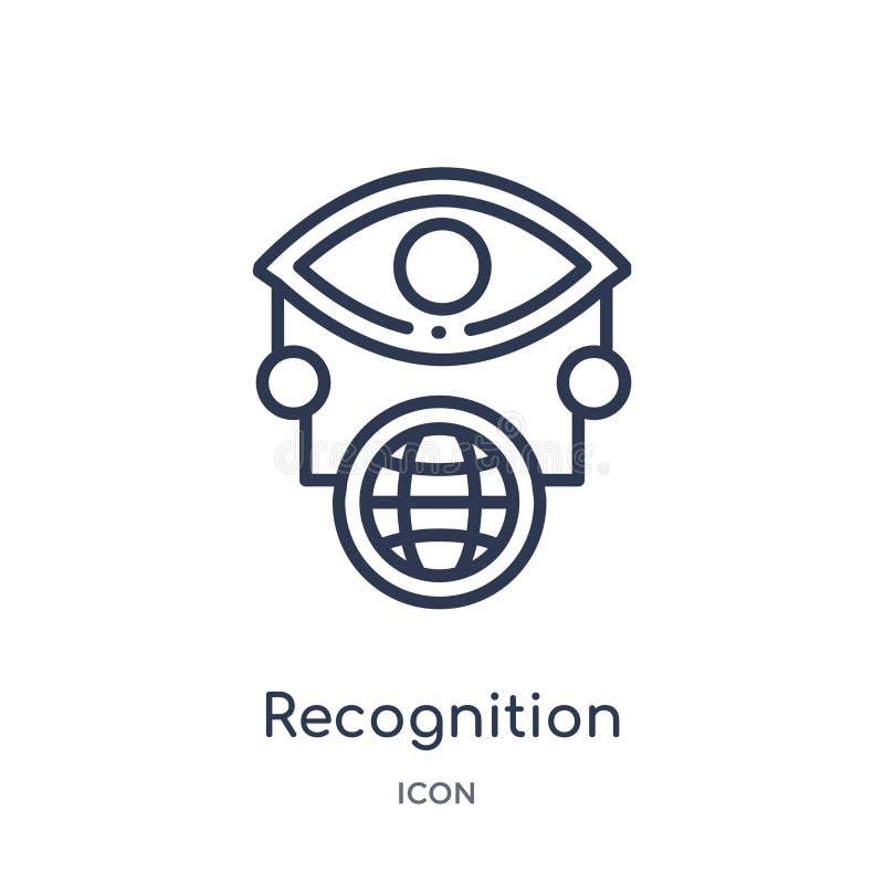 Ícone linear do reconhecimento do intellegence artificial e da coleção futura do esboço da tecnologia Linha fina vetor do reconhe ilustração do vetor