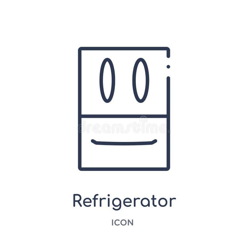 Ícone linear do refrigerador da coleção do esboço da mobília e do agregado familiar Linha fina ícone do refrigerador isolado no f ilustração stock