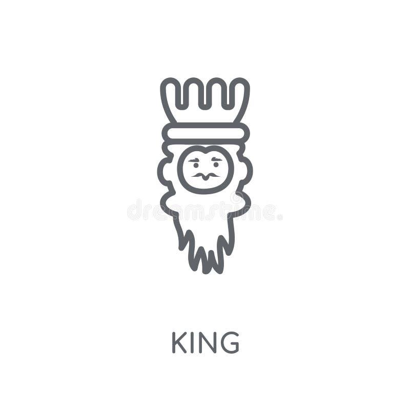 Ícone linear do rei Conceito moderno do logotipo do rei do esboço na parte traseira branca ilustração do vetor