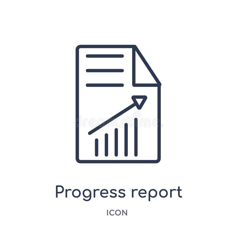 Ícone linear do relatório de progresso da coleção do esboço do negócio Linha fina ícone do relatório de progresso isolado no fund ilustração stock