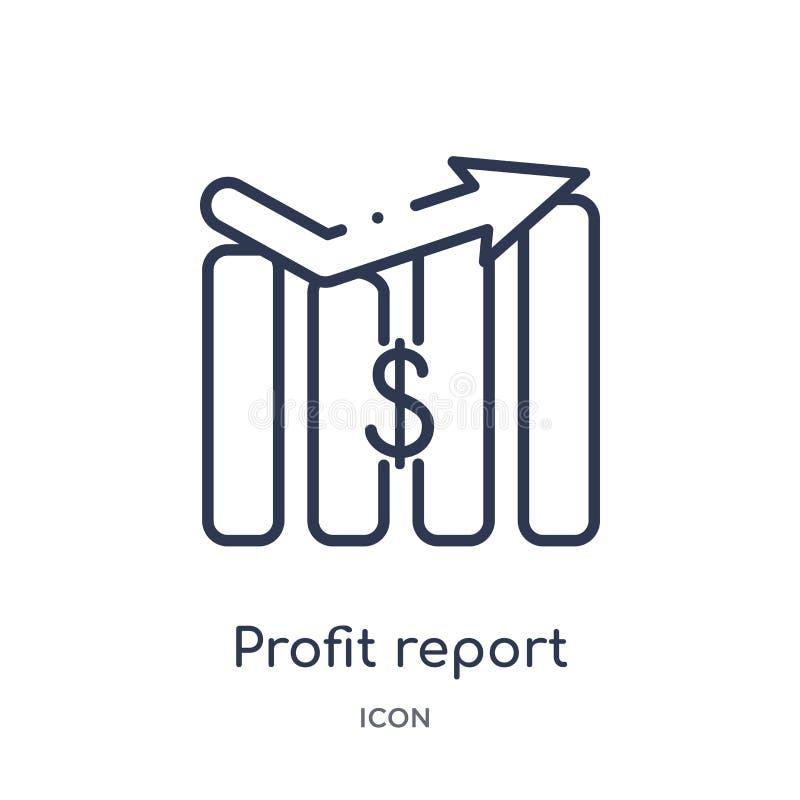 Ícone linear do relatório do lucro da coleção do esboço do negócio Linha fina ícone do relatório do lucro isolado no fundo branco ilustração do vetor