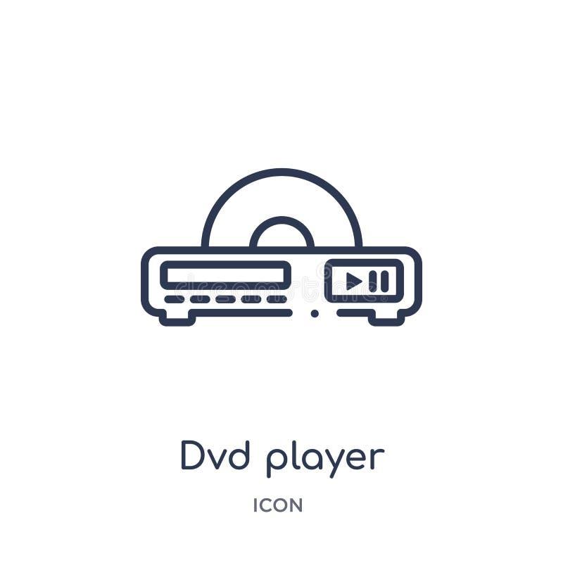 Ícone linear do reprodutor de DVD da coleção do esboço dos dispositivos eletrónicos Linha fina vetor do reprodutor de DVD isolado ilustração royalty free