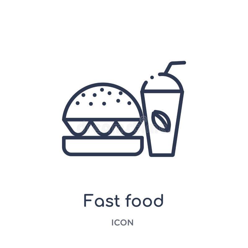 Ícone linear do restaurante do fast food da coleção do esboço do alimento Linha fina ícone do restaurante do fast food isolado no ilustração do vetor