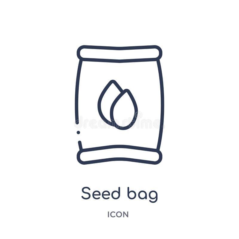 Ícone linear do saco da semente da coleção de cultivo e de jardinagem da agricultura do esboço Linha fina vetor do saco da sement ilustração royalty free