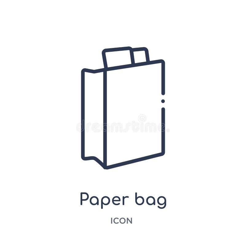 Ícone linear do saco de papel da coleção do esboço do Fastfood Linha fina vetor do saco de papel isolado no fundo branco saco de  ilustração royalty free
