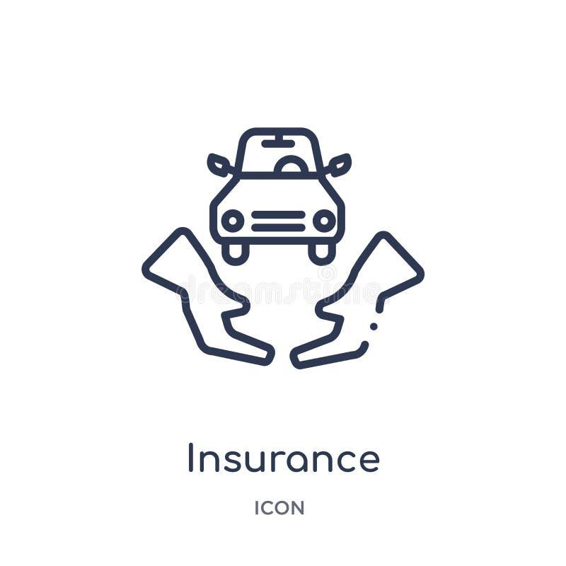 Ícone linear do seguro da coleção do esboço da economia de Digitas Linha fina vetor do seguro isolado no fundo branco seguro ilustração do vetor
