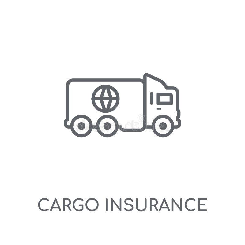 Ícone linear do seguro de carga Logotipo moderno do seguro de carga do esboço ilustração do vetor