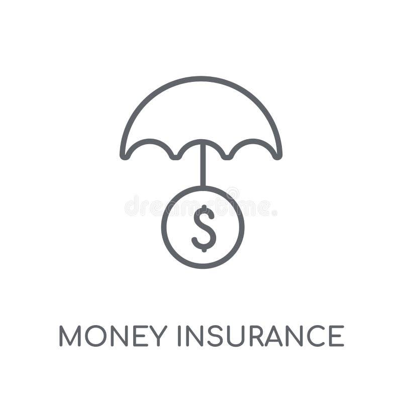 ícone linear do seguro do dinheiro Logotipo moderno do seguro do dinheiro do esboço ilustração royalty free