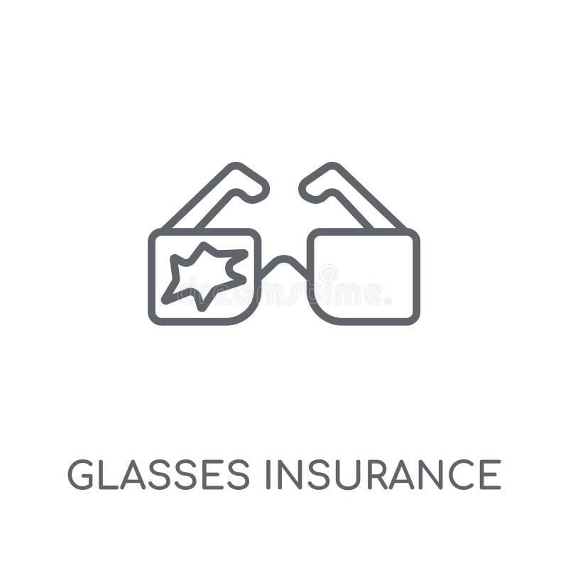 Ícone linear do seguro dos vidros Seguro moderno dos vidros do esboço ilustração do vetor