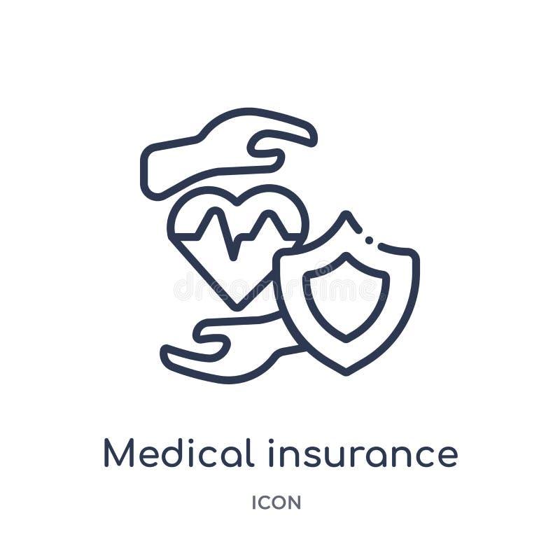 Ícone linear do seguro médico da coleção médica do esboço Linha fina ícone do seguro médico isolado no fundo branco ilustração royalty free