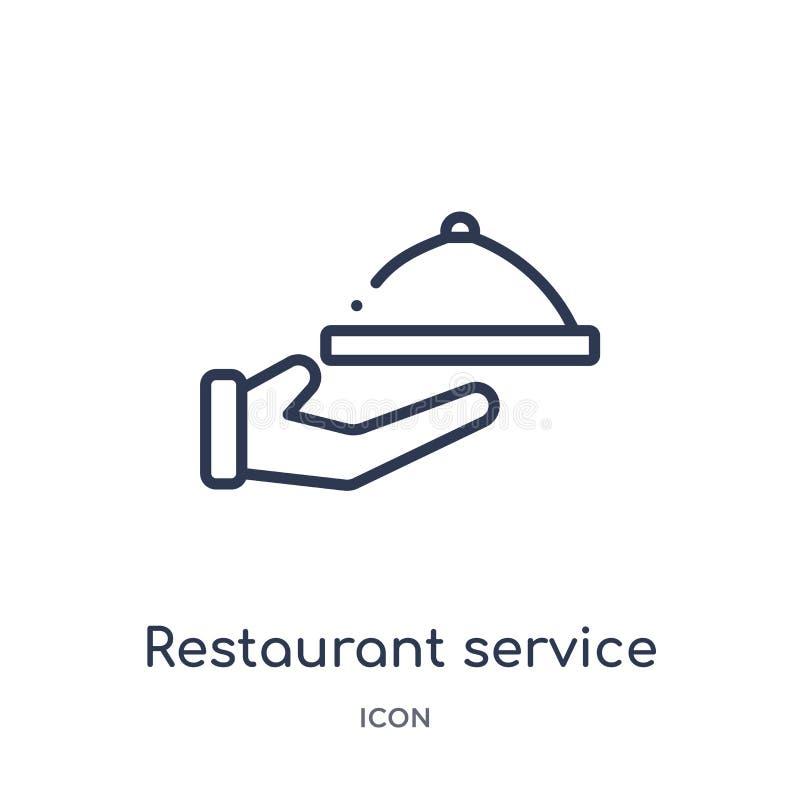 Ícone linear do serviço do restaurante da coleção do esboço do alimento e do restaurante Linha fina ícone do serviço do restauran ilustração stock