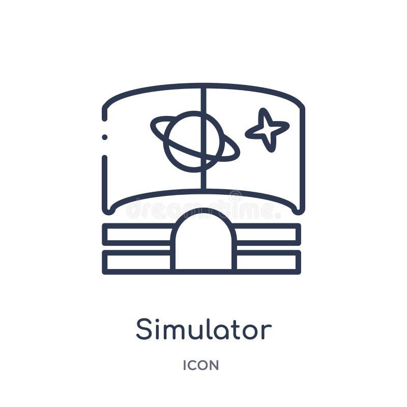 Ícone linear do simulador da coleção do esboço da astronomia Linha fina vetor do simulador isolado no fundo branco simulador na m ilustração do vetor