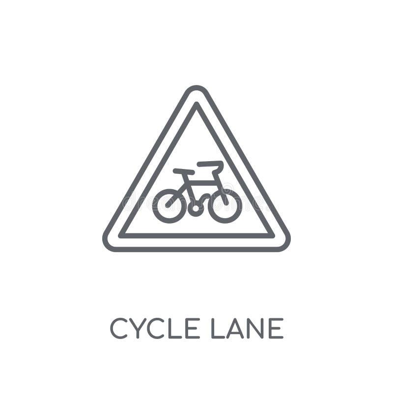 Ícone linear do sinal da pista do ciclo Logotipo moderno do sinal da pista do ciclo do esboço ilustração royalty free
