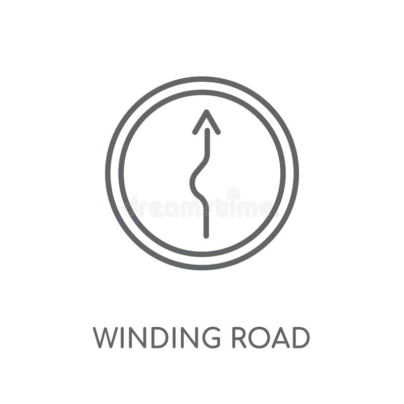 ícone linear do sinal de estrada do enrolamento Sinal de estrada moderno do enrolamento do esboço ilustração stock