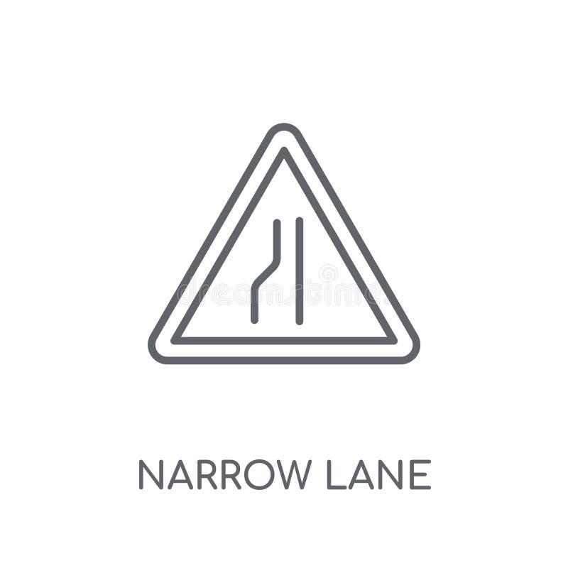 Ícone linear do sinal estreito da pista Lo estreito do sinal da pista do esboço moderno ilustração royalty free