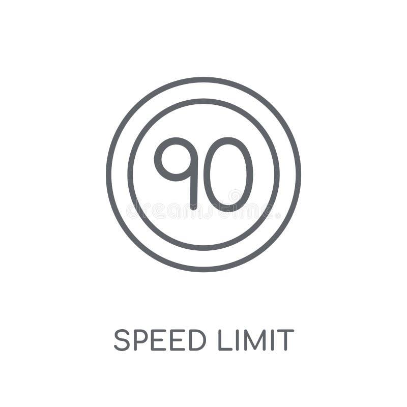 Ícone linear do sinal do limite de velocidade Lo moderno do sinal do limite de velocidade do esboço ilustração royalty free