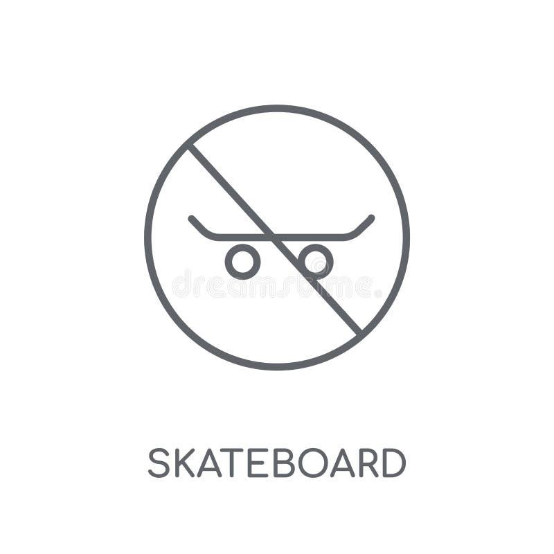 Ícone linear do sinal do skate Logotipo moderno do sinal do skate do esboço ilustração stock