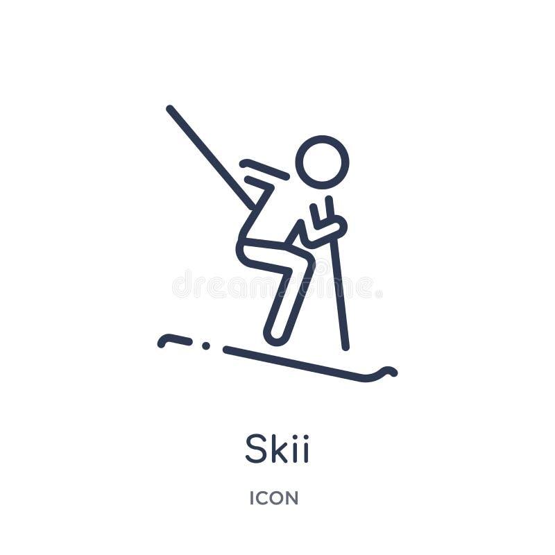 Ícone linear do skii da coleção da atividade e do esboço dos passatempos Linha fina vetor do skii isolado no fundo branco skii na ilustração royalty free