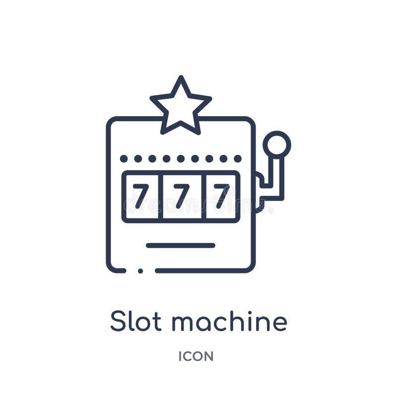 Ícone linear do slot machine do entretenimento e da coleção do esboço da arcada Linha fina vetor do slot machine isolado no branc ilustração stock