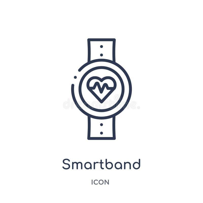 Ícone linear do smartband da coleção do esboço dos dispositivos eletrónicos Linha fina vetor do smartband isolado no fundo branco ilustração royalty free