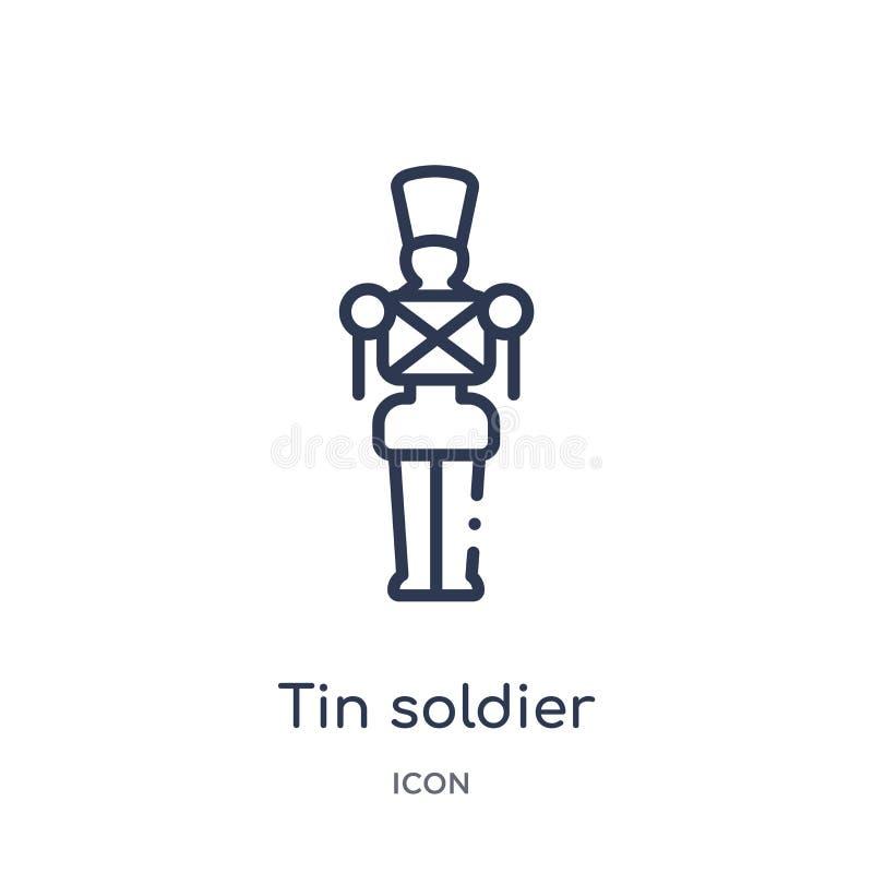 Ícone linear do soldado de lata da coleção do esboço do Natal Linha fina vetor do soldado de lata isolado no fundo branco Tin Sol ilustração do vetor