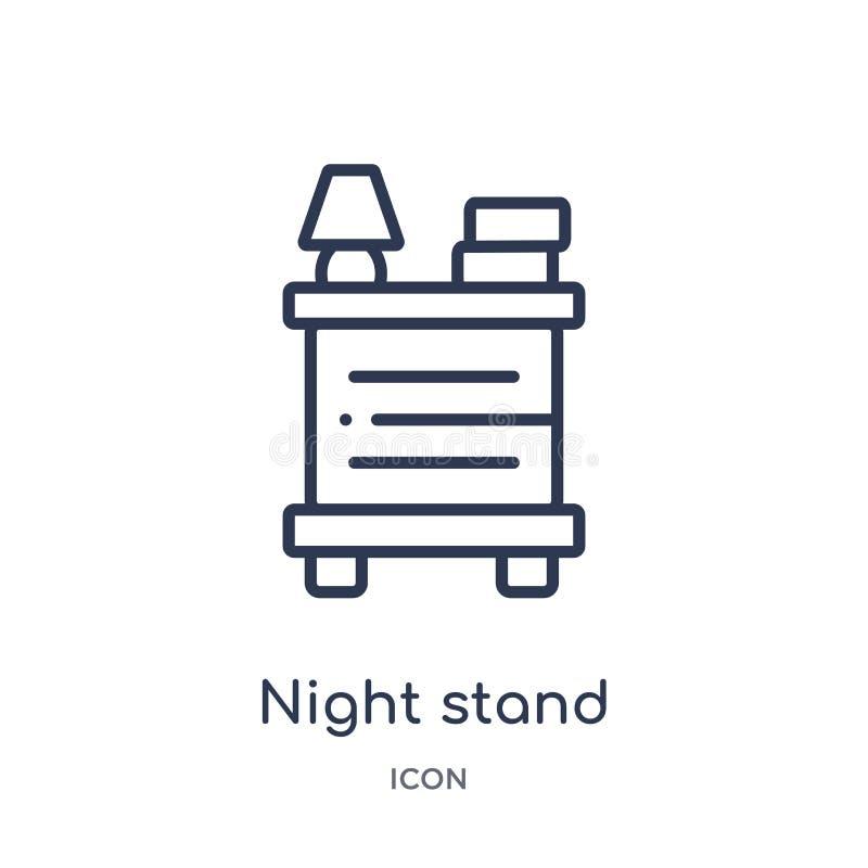 Ícone linear do suporte da noite da coleção do esboço da mobília & do agregado familiar Linha fina ícone do suporte da noite isol ilustração do vetor