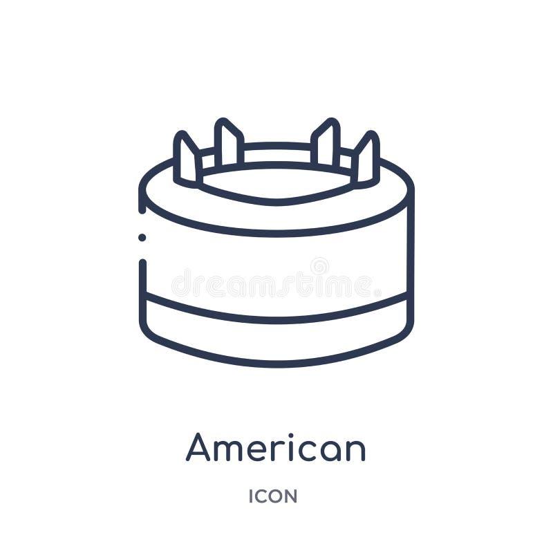 Ícone linear do T de futebol americano da coleção do esboço do futebol americano Linha fina vetor do T de futebol americano isola ilustração royalty free