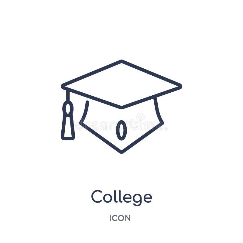 Ícone linear do tampão da graduação da faculdade da coleção do esboço da forma Linha fina ícone do tampão da graduação da faculda ilustração royalty free