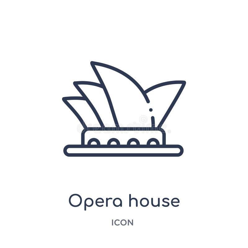 Ícone linear do teatro da ópera da coleção do esboço das construções Linha fina vetor do teatro da ópera isolado no fundo branco  ilustração royalty free