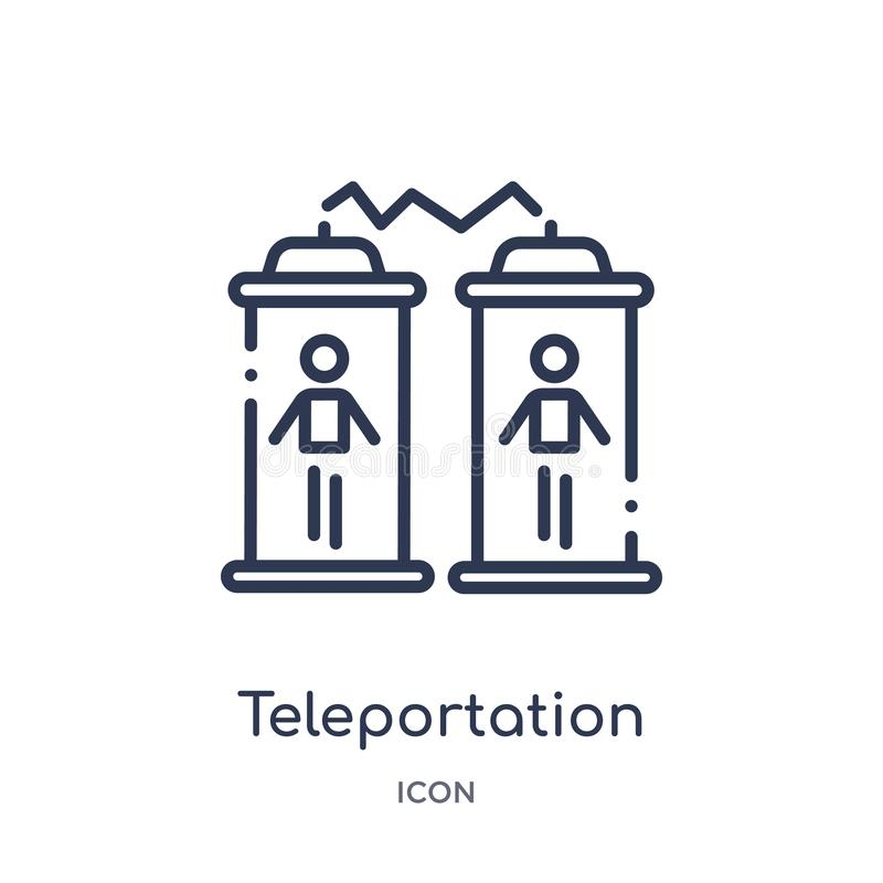 Ícone linear do teleportation da coleção futura do esboço da tecnologia Linha fina ícone do teleportation isolado no fundo branco ilustração stock