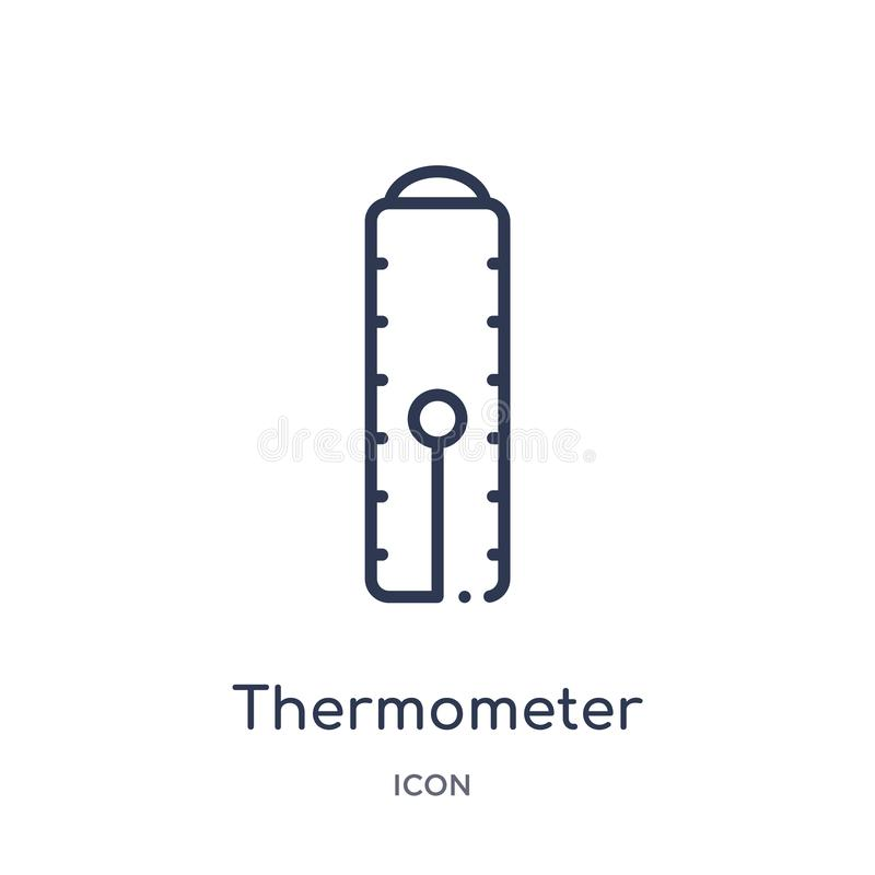 Ícone linear do termômetro da coleção do esboço da indústria Linha fina ícone do termômetro isolado no fundo branco termômetro ilustração stock
