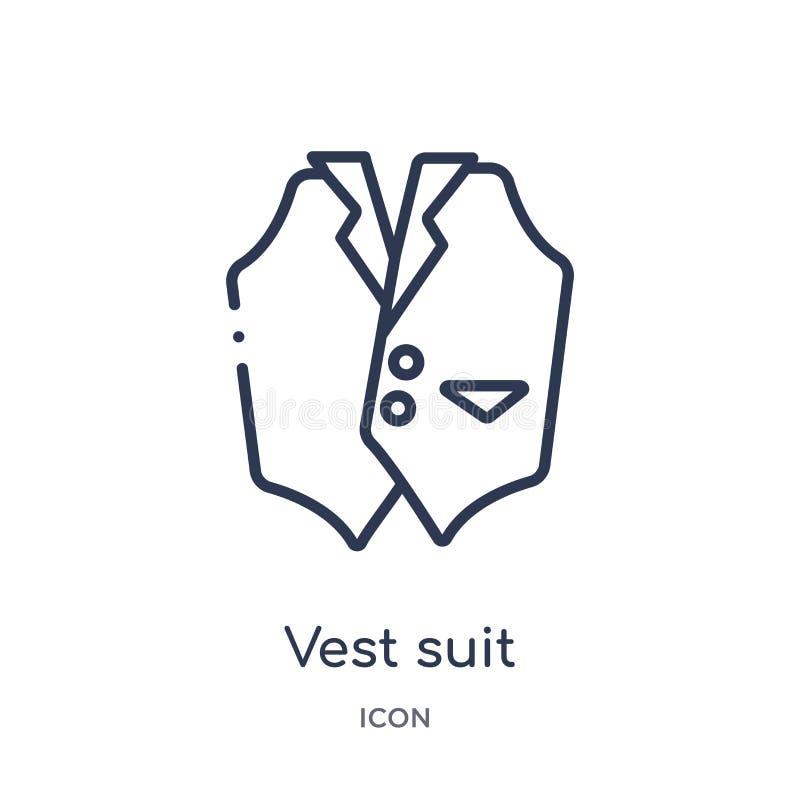 Ícone linear do terno da veste da coleção luxuosa do esboço Linha fina ícone do terno da veste isolado no fundo branco terno da v ilustração do vetor