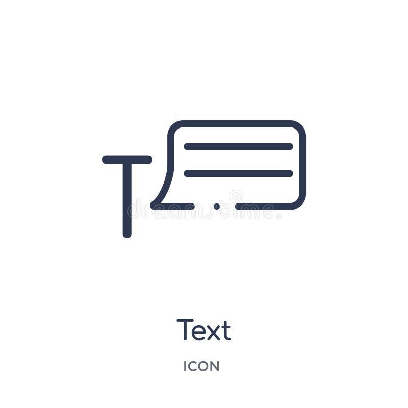 Ícone linear do texto da coleção do esboço da geometria Linha fina ícone do texto isolado no fundo branco ilustração na moda do t ilustração royalty free