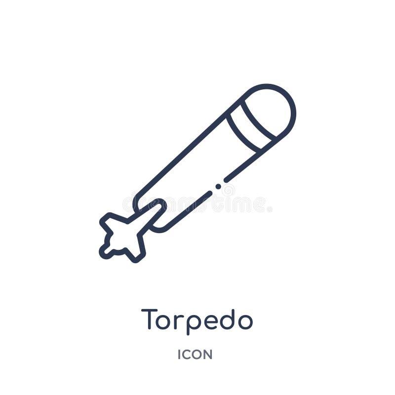 Ícone linear do torpedo da coleção do esboço do exército e da guerra Linha fina vetor do torpedo isolado no fundo branco torpedo  ilustração stock