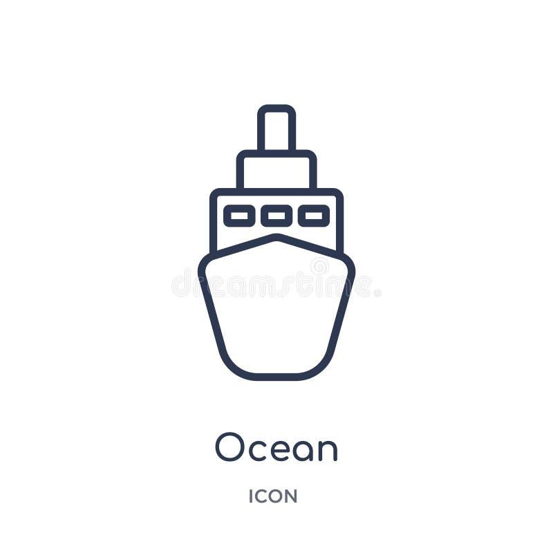 Ícone linear do transporte do oceano da entrega e da coleção logística do esboço Linha fina vetor do transporte do oceano isolado ilustração stock