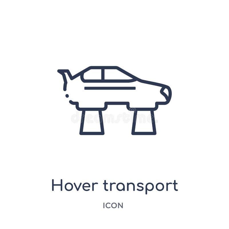Ícone linear do transporte do pairo do intellegence artificial e da coleção futura do esboço da tecnologia Linha fina transporte  ilustração stock